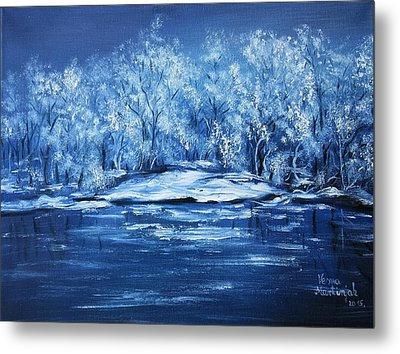 Metal Print featuring the painting Blue Silence by Vesna Martinjak