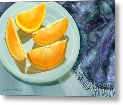 Blue Silk And Oranges Metal Print by Joan A Hamilton