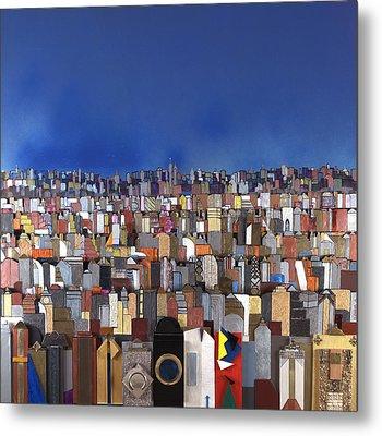 Blue Sky Big City Metal Print by Robert Handler