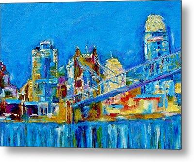 Blue Sky Cincinnati Metal Print by Kat Griffin