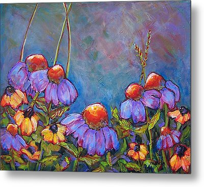 Blue Sky Flowers Metal Print by Blenda Studio