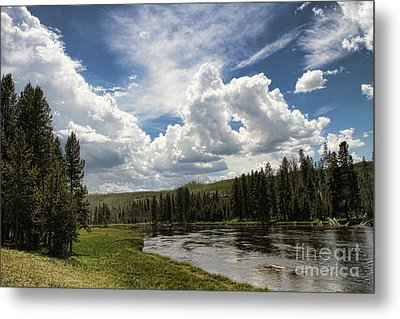 Blue Sky In Yellowstone Metal Print by Edward R Wisell