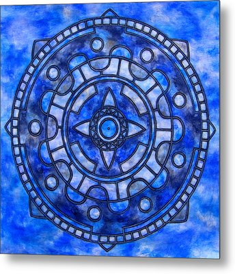 Blue Sky Mandala Metal Print by Vlatka Kelc
