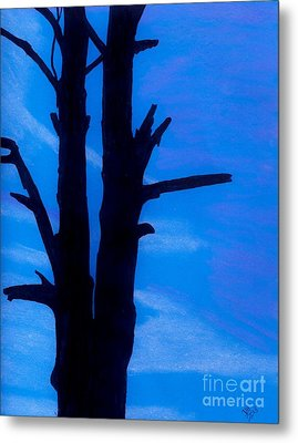 Metal Print featuring the drawing Blue Sky Tree by D Hackett