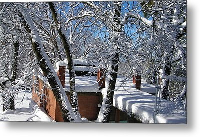 Blue Sky-white Snow Metal Print
