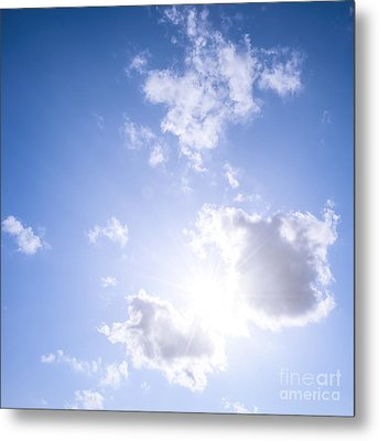 Blue Sky With Sun And Clouds Metal Print by Elena Elisseeva