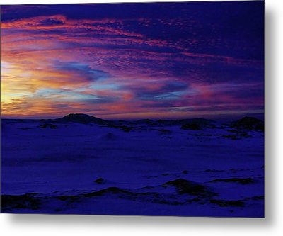 Metal Print featuring the photograph Blue Snow Sunset by Kathi Mirto