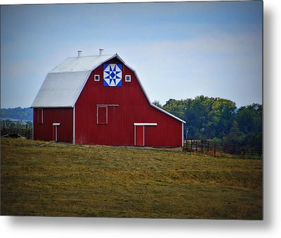 Blue Star Quilt Barn Metal Print by Cricket Hackmann