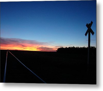Blue Sunrise Over The Tracks Metal Print by Cary Amos
