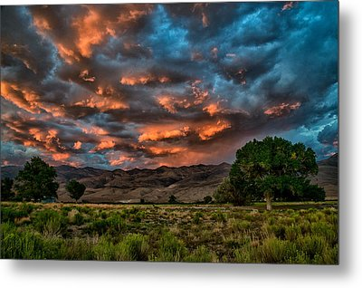 Blue Sunset Metal Print by Cat Connor