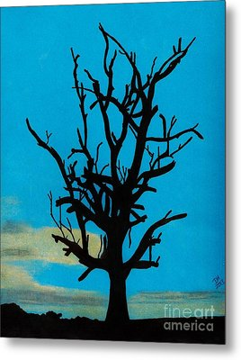 Metal Print featuring the drawing Blue Sunset by D Hackett