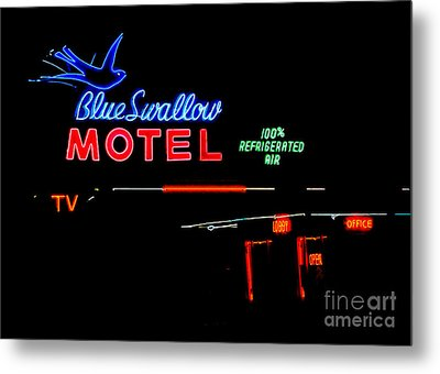 Blue Swallow Motel Neon Sign Metal Print by Catherine Sherman