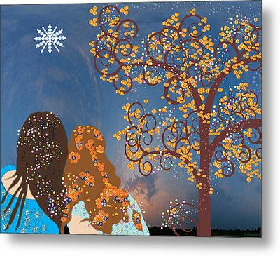 Blue Swirl Girls Metal Print by Kim Prowse