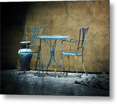Metal Print featuring the photograph Blue Table And Chairs by Lucinda Walter