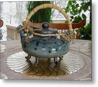 Blue Teapot Metal Print by Beth Gramith
