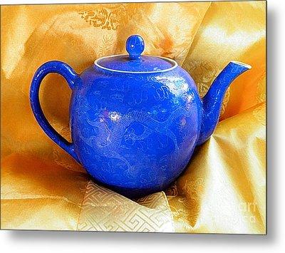 Blue Teapot Metal Print