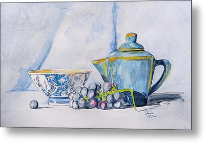 Metal Print featuring the painting Blue Teapot  by Janina  Suuronen