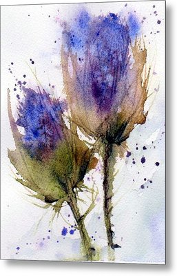 Blue Thistle Metal Print by Anne Duke