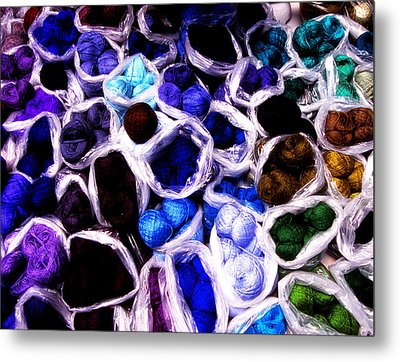 Blue Thread Piles Metal Print
