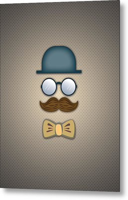 Blue Top Hat Moustache Glasses And Bow Tie Metal Print by Ym Chin