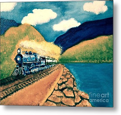 Blue Train Metal Print by Denise Tomasura