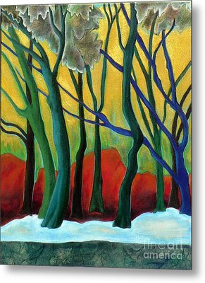 Metal Print featuring the painting Blue Tree 1 by Elizabeth Fontaine-Barr