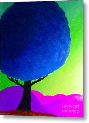 Blue Tree Metal Print by Anita Lewis