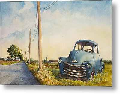 Metal Print featuring the painting Blue Truck North Fork by Susan Herbst