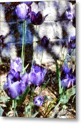 Blue Tulips In The Garden Metal Print by Janine Riley