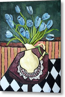 Blue Tulips On Octagon Table Metal Print by Anthony Falbo