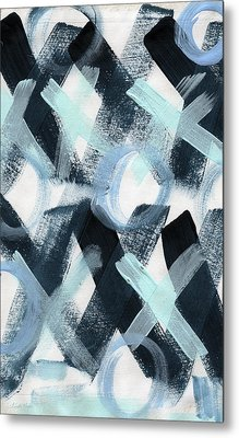 Blue Valentine- Abstract Painting Metal Print by Linda Woods