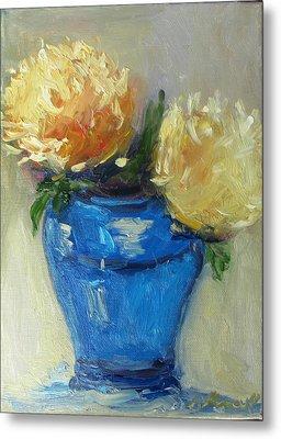 Blue Vase Color Study Metal Print by Barbara Anna Knauf