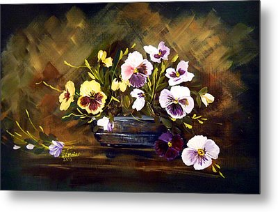 Blue Vase With Pansies Metal Print by Dorothy Maier