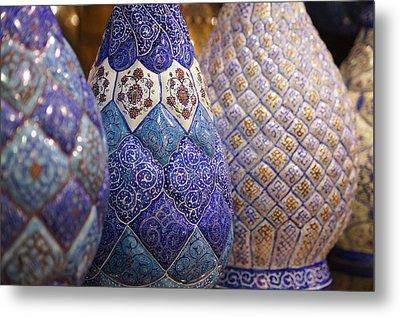 Blue Vases Metal Print by Debi Demetrion
