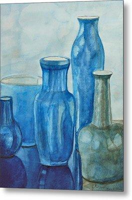 Blue Vases I Metal Print by Anna Ruzsan