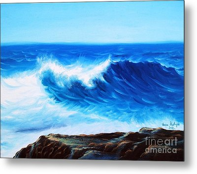 Metal Print featuring the painting Blue by Vesna Martinjak