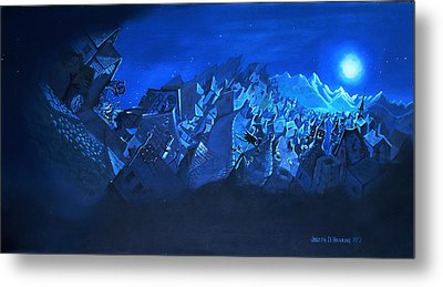 Metal Print featuring the painting Blue Village by Joseph Hawkins