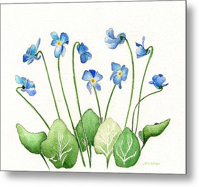 Metal Print featuring the painting Blue Violets by Nan Wright