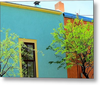 Metal Print featuring the photograph Blue Wall Yellow Window by Brenda Pressnall