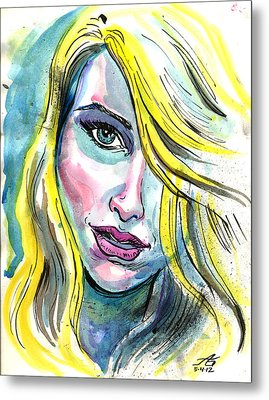 Blue Water Blonde Metal Print