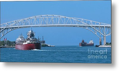 Blue Water Bridge And Freighters Metal Print
