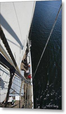 Blue Water - White Sail Metal Print