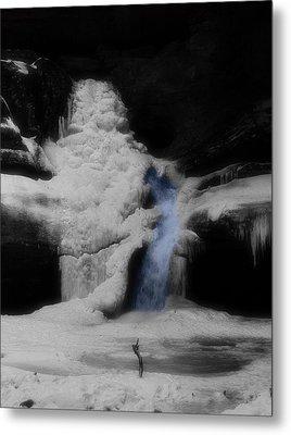 Blue Waterfall Frozen Landscape Metal Print by Dan Sproul