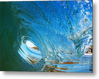 Metal Print featuring the photograph Blue Wave Curl by Paul Topp