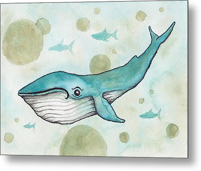 Blue Whale Metal Print by Melissa Rohr Gindling