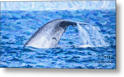 Blue Whale With Remoras Metal Print by Liz Leyden
