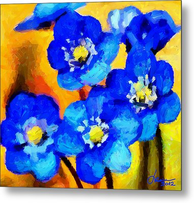 Blue Wild Flowers Tnm Metal Print by Vincent DiNovici