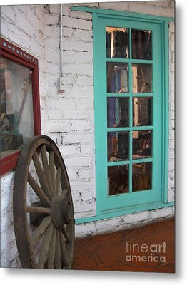 Metal Print featuring the photograph Blue Window And Wagon Wheel by Dora Sofia Caputo Photographic Art and Design