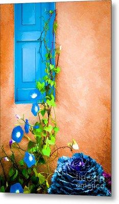 Blue Window - Painted Metal Print by Bob and Nancy Kendrick
