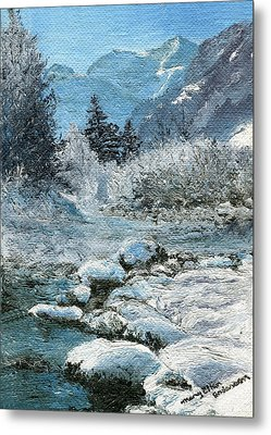 Metal Print featuring the painting Blue Winter by Mary Ellen Anderson